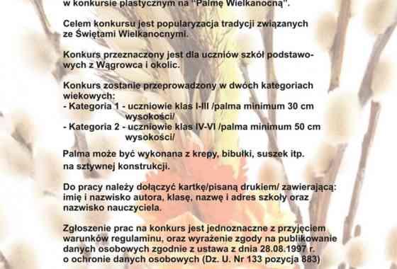 """Regulamin Konkursu na  """"PALMĘ WIELKANOCNĄ"""""""